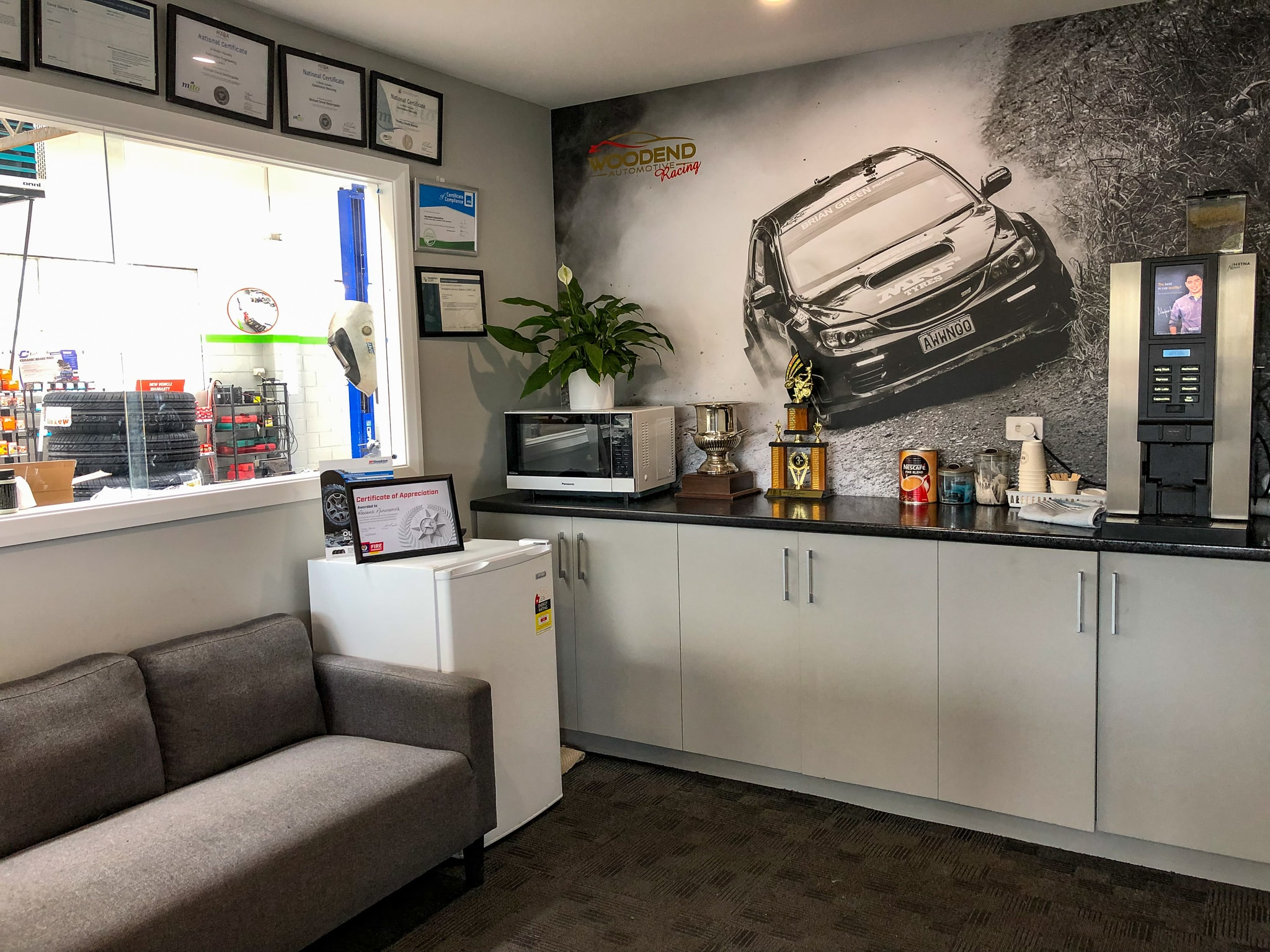 We offer coffee and TV while you wait for your vehicle to get a WOF / a service